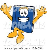 Vector Illustration of a Cartoon Blue Book Mascot Jumping by Toons4Biz
