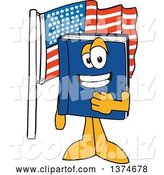 Vector Illustration of a Cartoon Blue Book Mascot Pledging Allegiance by an American Flag by Toons4Biz
