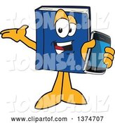 Vector Illustration of a Cartoon Blue Book Mascot Presenting and Holding out a Smart Phone by Toons4Biz