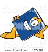 Vector Illustration of a Cartoon Blue Book Mascot Resting on His Side by Toons4Biz