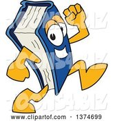 Vector Illustration of a Cartoon Blue Book Mascot Running by Toons4Biz