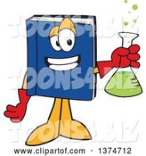 Vector Illustration of a Cartoon Blue Book Mascot Scientist Holding a Bubbly Flask by Toons4Biz
