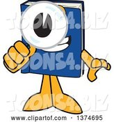Vector Illustration of a Cartoon Blue Book Mascot Searching with a Magnifying Glass by Toons4Biz