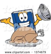 Vector Illustration of a Cartoon Blue Book Mascot Serving a Roasted Thanksgiving Turkey by Toons4Biz