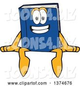 Vector Illustration of a Cartoon Blue Book Mascot Sitting on a Wall or Sign by Toons4Biz