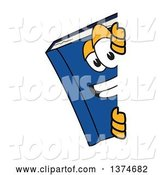 Vector Illustration of a Cartoon Blue Book Mascot Smiling Around a Sign by Toons4Biz