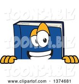Vector Illustration of a Cartoon Blue Book Mascot Smiling over a Sign by Toons4Biz