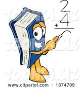 Vector Illustration of a Cartoon Blue Book Mascot Solving a Math Addition Problem by Toons4Biz
