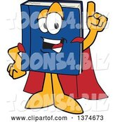 Vector Illustration of a Cartoon Blue Book Mascot Super Hero Holding up a Finger by Toons4Biz