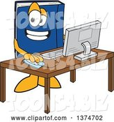 Vector Illustration of a Cartoon Blue Book Mascot Using a Desktop Computer by Toons4Biz