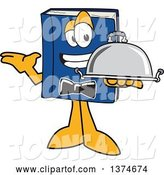 Vector Illustration of a Cartoon Blue Book Mascot Waiter Holding a Cloche Platter by Toons4Biz
