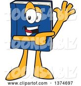 Vector Illustration of a Cartoon Blue Book Mascot Waving and Pointing by Toons4Biz