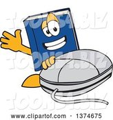 Vector Illustration of a Cartoon Blue Book Mascot Waving by a Computer Mouse by Toons4Biz