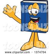 Vector Illustration of a Cartoon Blue Book Mascot Waving by Toons4Biz