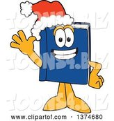 Vector Illustration of a Cartoon Blue Book Mascot Wearing a Christmas Santa Hat and Waving by Toons4Biz