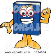 Vector Illustration of a Cartoon Blue Book Mascot Wearing Glasses by Toons4Biz