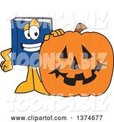 Vector Illustration of a Cartoon Blue Book Mascot with a Halloween Jackolantern Pumpkin by Toons4Biz