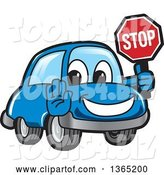 Vector Illustration of a Cartoon Blue Car Mascot Gesturing and Holding a Stop Sign by Toons4Biz