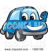 Vector Illustration of a Cartoon Blue Car Mascot Gesturing Ok by Toons4Biz