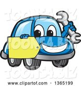 Vector Illustration of a Cartoon Blue Car Mascot Holding a Wrench and a Tag by Toons4Biz