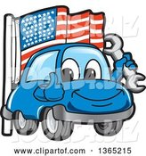 Vector Illustration of a Cartoon Blue Car Mascot Holding a Wrench and Giving a Thumb up by an American Flag by Toons4Biz