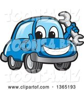 Vector Illustration of a Cartoon Blue Car Mascot Holding a Wrench and Giving a Thumb up by Toons4Biz