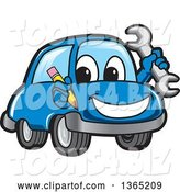 Vector Illustration of a Cartoon Blue Car Mascot Holding a Wrench and Pencil by Toons4Biz