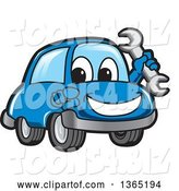 Vector Illustration of a Cartoon Blue Car Mascot Holding a Wrench and Pointing at the Viewer by Toons4Biz