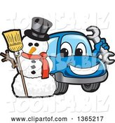 Vector Illustration of a Cartoon Blue Car Mascot Holding a Wrench by a Christmas Snowman by Toons4Biz