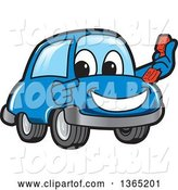 Vector Illustration of a Cartoon Blue Car Mascot Holding and Pointing to a Phone by Toons4Biz