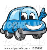 Vector Illustration of a Cartoon Blue Car Mascot Holding up a Finger by Toons4Biz