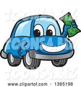 Vector Illustration of a Cartoon Blue Car Mascot Holding up Cash Money by Toons4Biz