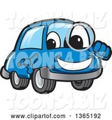 Vector Illustration of a Cartoon Blue Car Mascot Searching with a Magnifying Glass by Toons4Biz