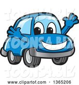Vector Illustration of a Cartoon Blue Car Mascot Welcoming by Toons4Biz