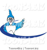 Vector Illustration of a Cartoon Blue Jay Mascot Blue Dash Logo by Toons4Biz