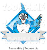 Vector Illustration of a Cartoon Blue Jay Mascot Blue Diamond Banner Logo by Toons4Biz