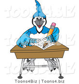 Vector Illustration of a Cartoon Blue Jay Mascot Doing Homework at a Desk by Toons4Biz