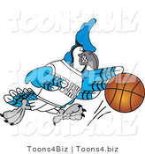 Vector Illustration of a Cartoon Blue Jay Mascot Dribbling a Basketball by Toons4Biz