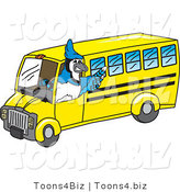 Vector Illustration of a Cartoon Blue Jay Mascot Driving a Bus by Toons4Biz