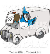 Vector Illustration of a Cartoon Blue Jay Mascot Driving a Delivery Van by Toons4Biz