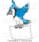 Vector Illustration of a Cartoon Blue Jay Mascot Flying with a Blank Sign by Toons4Biz