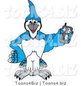 Vector Illustration of a Cartoon Blue Jay Mascot Holding a Cell Phone by Toons4Biz