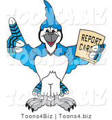 Vector Illustration of a Cartoon Blue Jay Mascot Holding a Report Card by Toons4Biz