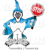 Vector Illustration of a Cartoon Blue Jay Mascot Holding a Stop Sign by Toons4Biz