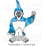 Vector Illustration of a Cartoon Blue Jay Mascot Holding a Tooth by Toons4Biz
