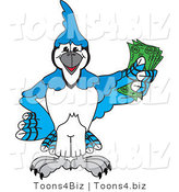 Vector Illustration of a Cartoon Blue Jay Mascot Holding Cash by Toons4Biz