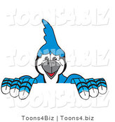 Vector Illustration of a Cartoon Blue Jay Mascot Holding up a Sign by Toons4Biz
