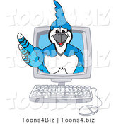 Vector Illustration of a Cartoon Blue Jay Mascot in a Computer by Toons4Biz