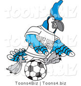 Vector Illustration of a Cartoon Blue Jay Mascot Kicking a Soccer Ball by Toons4Biz