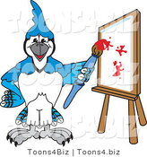 Vector Illustration of a Cartoon Blue Jay Mascot Painting a Canvas by Toons4Biz
